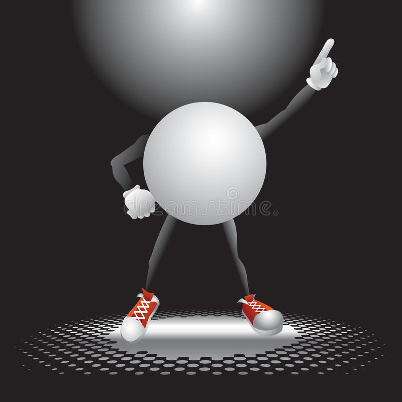 Ping pong ball character under the spotlight royalty free illustration
