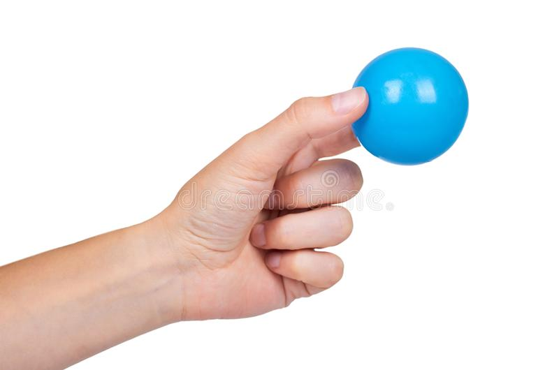 Ping-pong ball in hand isolated on white background royalty free stock images