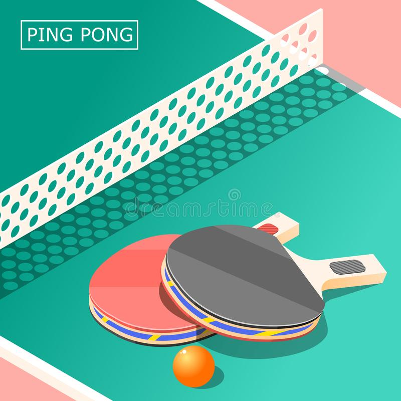Ping Pong Isometric Background illustration de vecteur