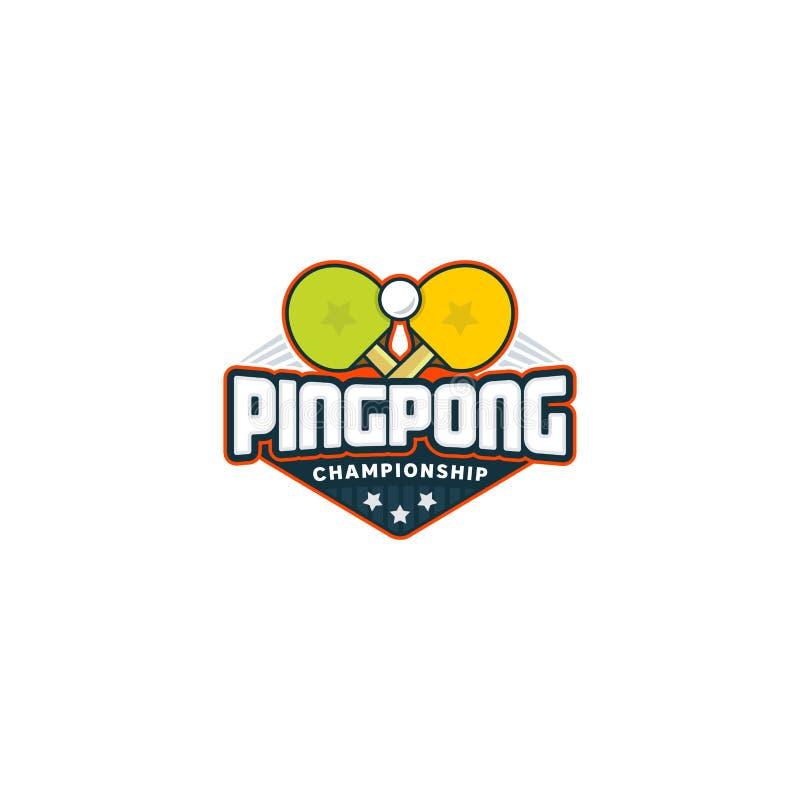 Ping Pong Logo Distintivo di sport di ping-pong Illustrazione di vettore illustrazione vettoriale