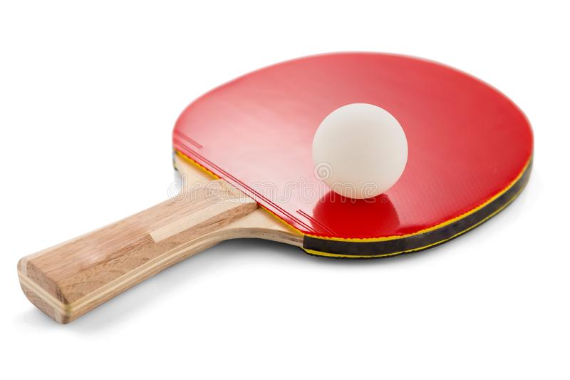 Ping pong paddle and ball isolated on white background with shadows. Selective focus. royalty free stock photography