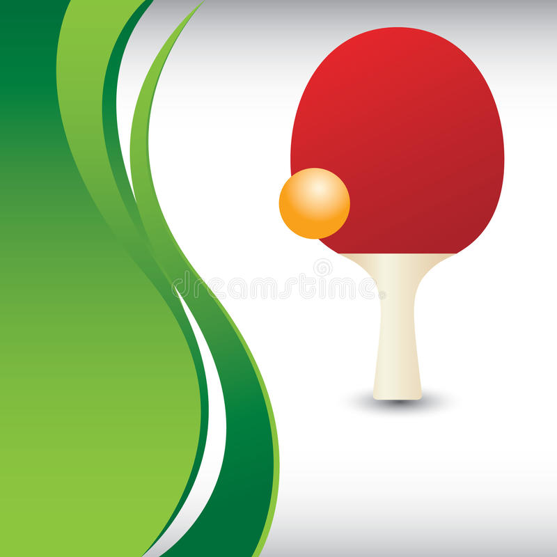 Ping pong paddle and ball on vertical green wave