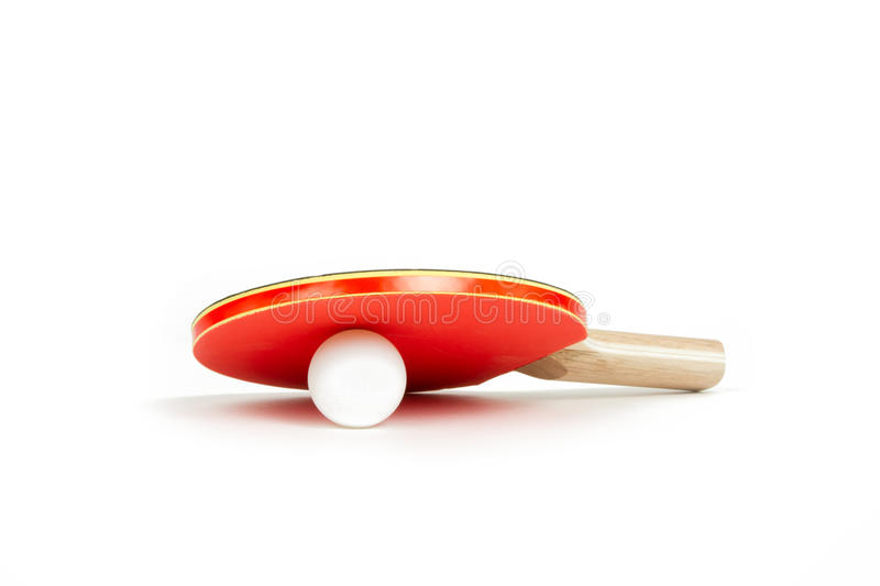 Ping Pong Paddle and Ball on a White Background stock images