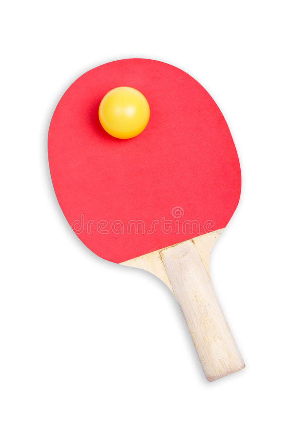 Ping Pong Paddle And Yellow Ball Stock Images