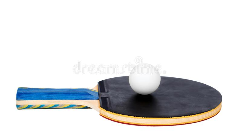 Ping Pong paddles and ball cutout, isolated on white background. copy space, template royalty free stock image