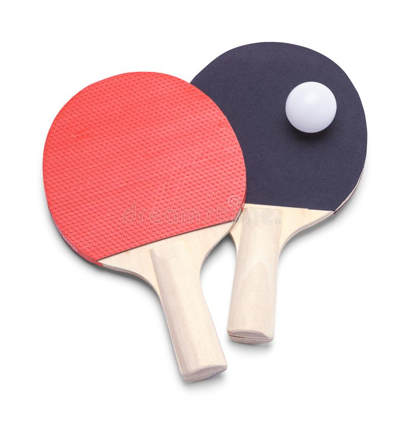 Ping Pong Paddles and Ball. Red and Black Ping Pong Paddles with Ball Isolated on White stock image