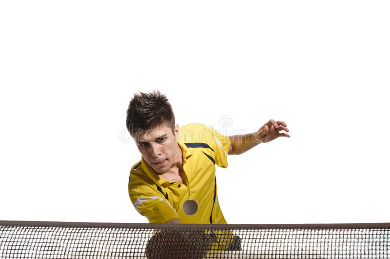 Ping pong player. Young man tennis-player in play on white background stock photography