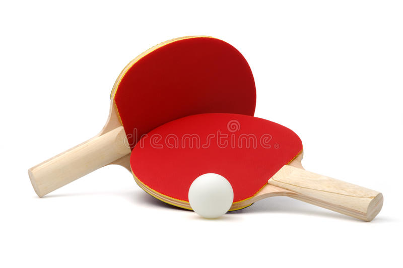 Ping-pong rackets and ball stock photo