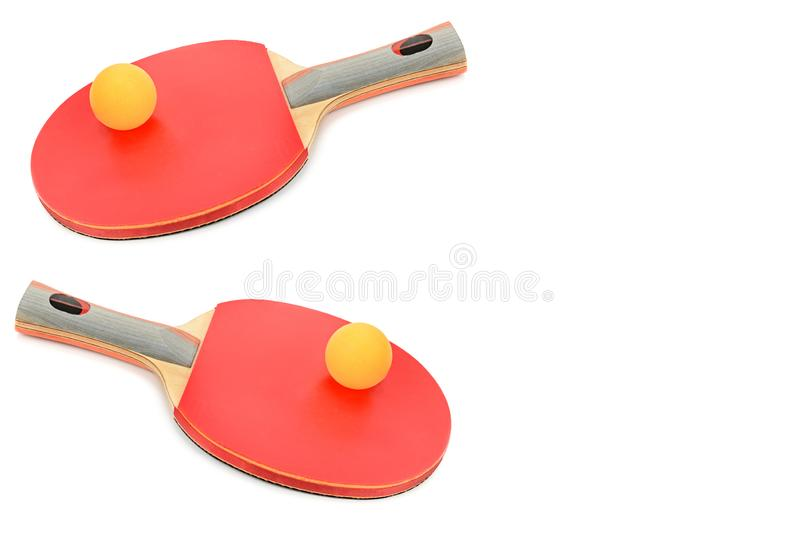 Ping-pong rackets and ball isolated on white . Free space for text royalty free stock image
