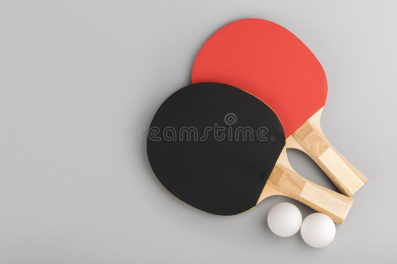 Ping pong rackets. game concept stock images