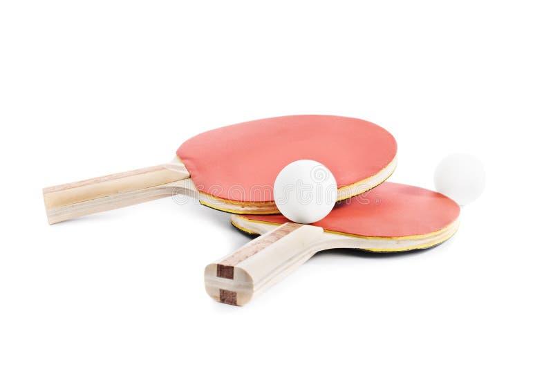 Ping Pong slagträn med bollar arkivfoton