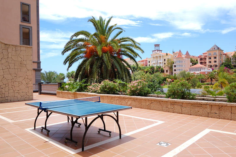 Ping-pong table at luxury hotel