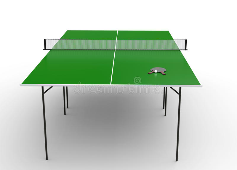 Ping - pong table with paddles and a ball on the table. Isolated on white bacground stock illustration