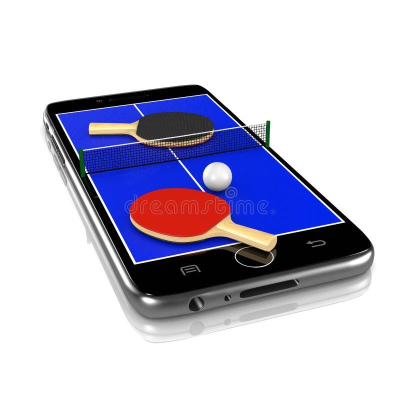 Ping-Pong Table Tennis auf Smartphone, Sport-APP lizenzfreie abbildung