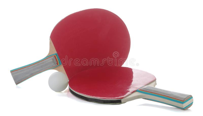 Ping pong. Table tennis rackets on a white isolated background. Sport game stock photography