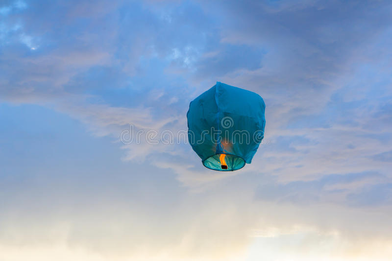 Download Bright Blue Paper Lantern Flying In The Sky Stock Image - Image of peng, hight: 32641745