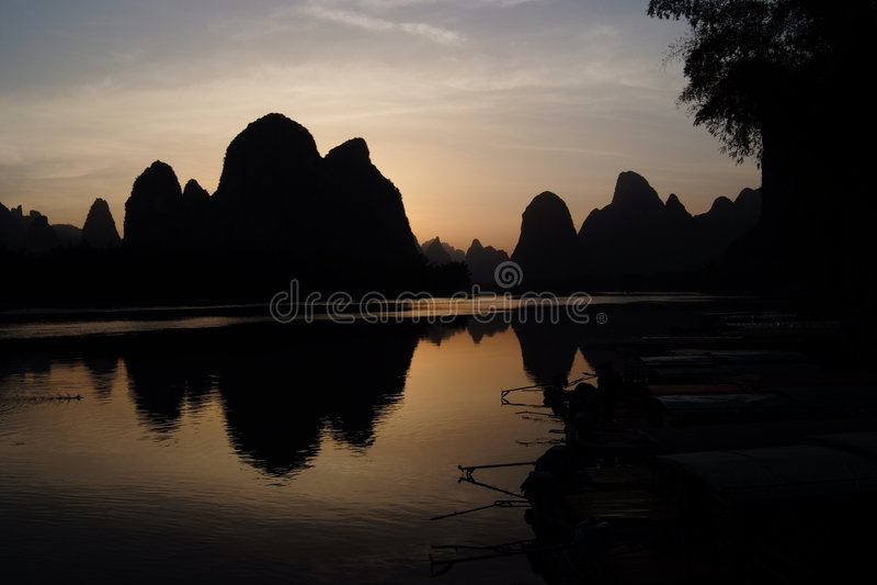 Ping van Xing Zonsondergang stock afbeeldingen