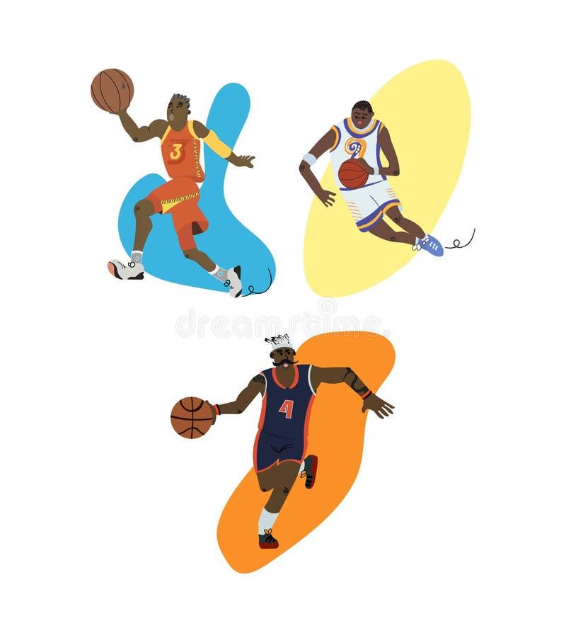 Pingar dos jogadores de basquetebol dos desenhos animados e grupo ajustados da possessão ilustração royalty free