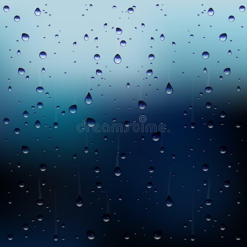 Pingos de chuva do vetor na janela ilustração do vetor