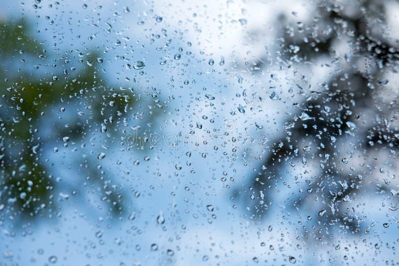 Pingos de chuva fora da janela com natureza verde foto de stock