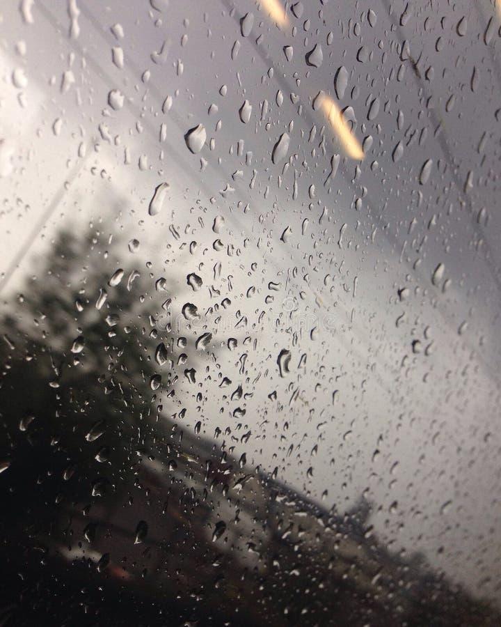 Pingos de chuva no trem fotografia de stock royalty free