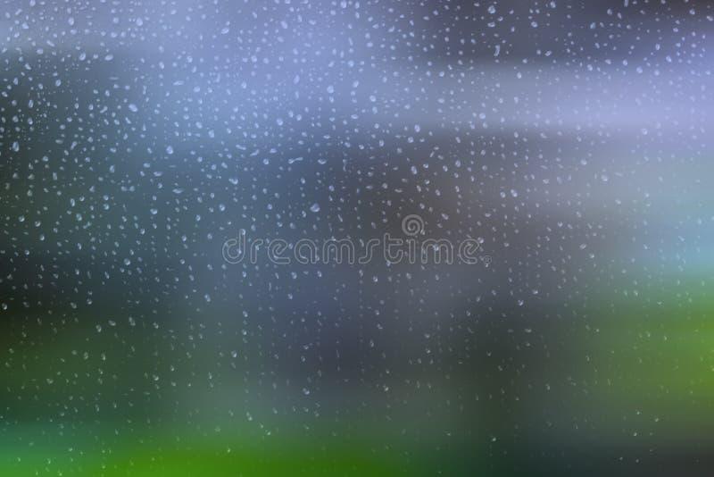 Pingos de chuva pequenos em uma janela ilustração royalty free