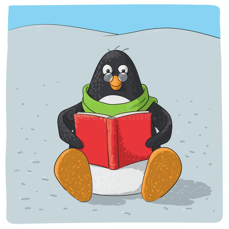 Pingouin arctique mignon qui lit illustration de vecteur