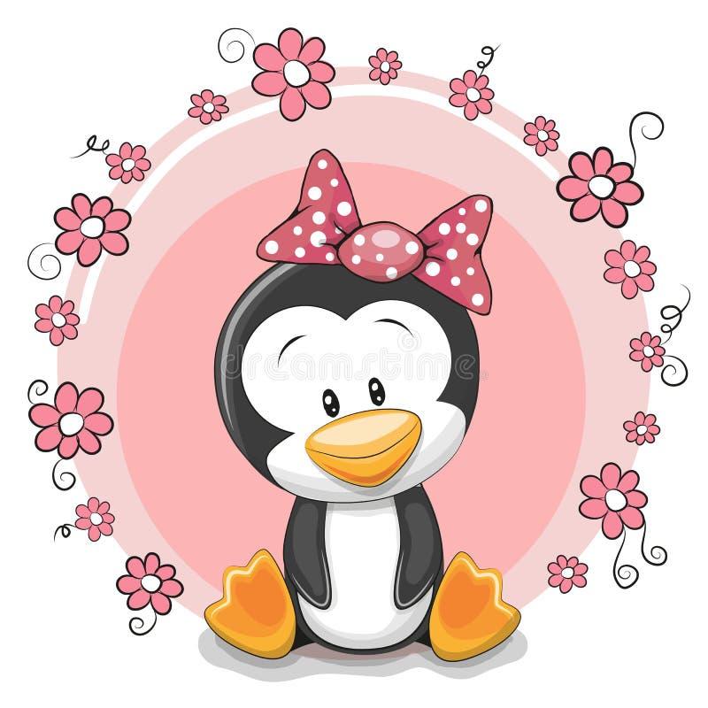 Pingouin avec des fleurs illustration stock