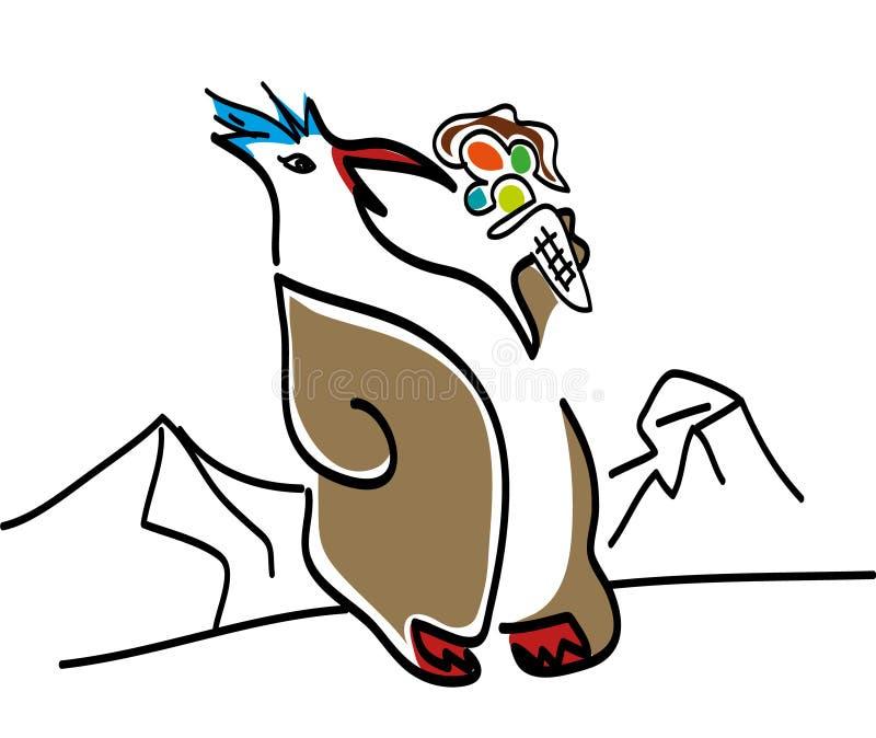 Pingouin avec la crème glacée, vecteur illustration de vecteur