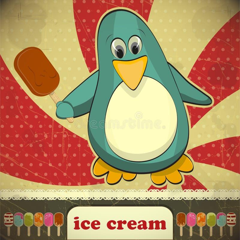Pingouin avec la crême glacée illustration libre de droits