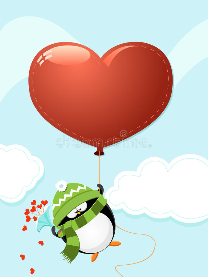 Pingouin avec le grand coeur illustration stock