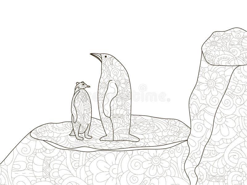 Pingouin avec un enfant en Antarctique Anti coloration d'effort, vecteur pour des adultes illustration stock