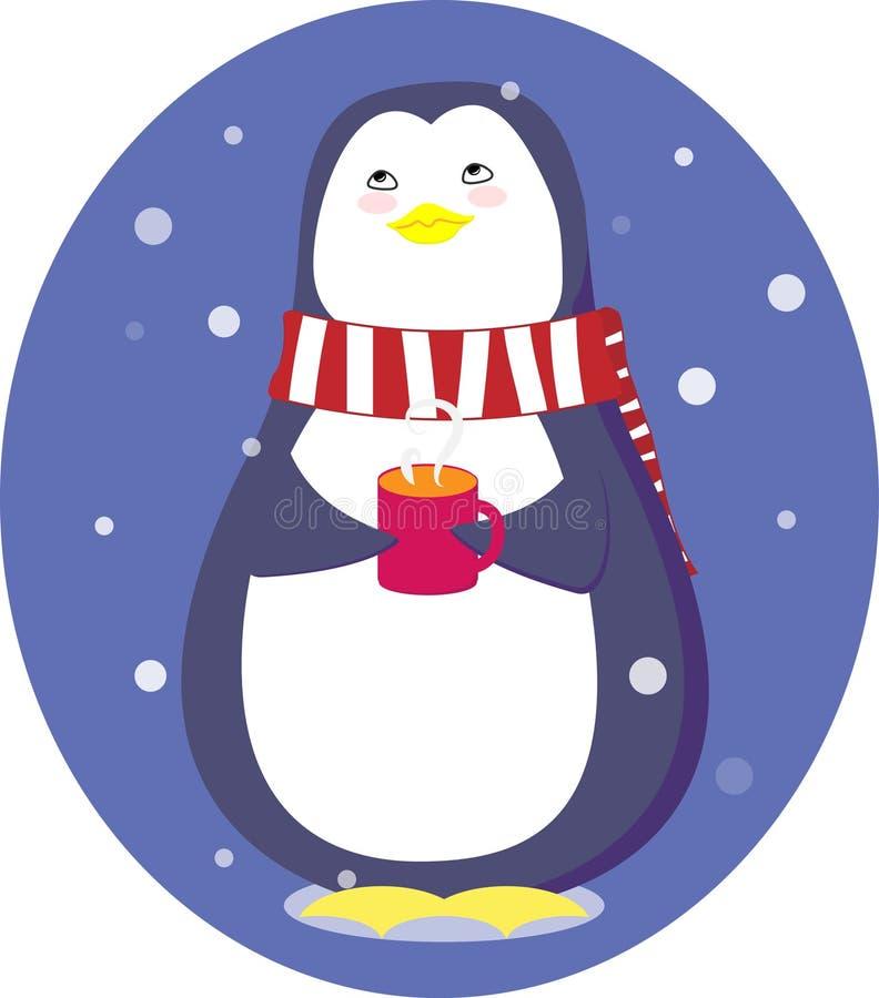 Pingouin avec une tasse photo stock