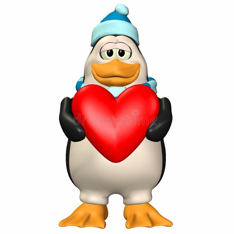 Pingouin dans l'amour illustration libre de droits