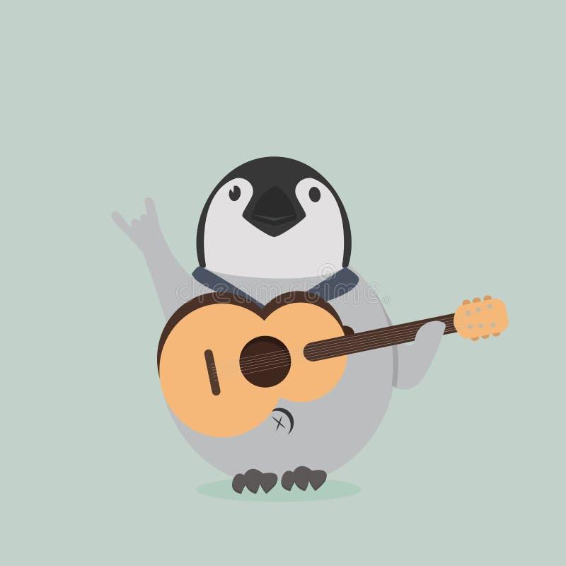 Pingouin de bébé avec la guitare illustration stock