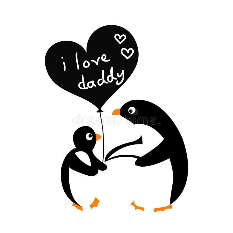Pingouin de bébé avec son père, j'aime le papa, carte de voeux du jour de père illustration libre de droits