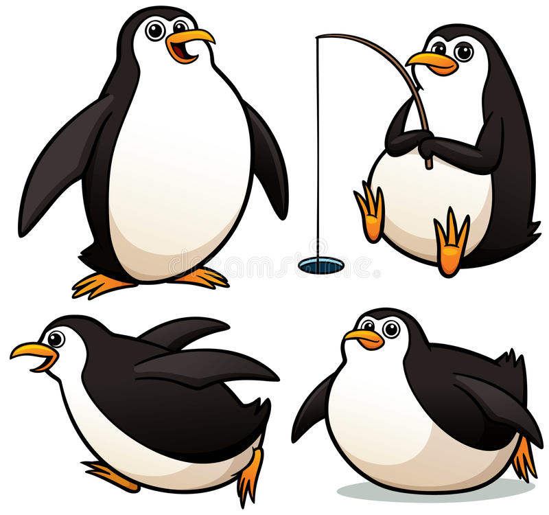 Pingouin de bande dessinée illustration stock