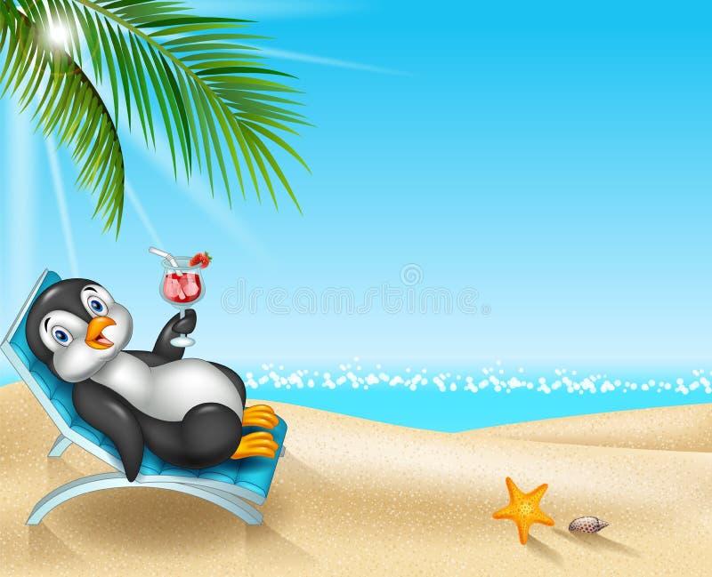 Pingouin de bande dessinée détendant sur la chaise de plage illustration stock