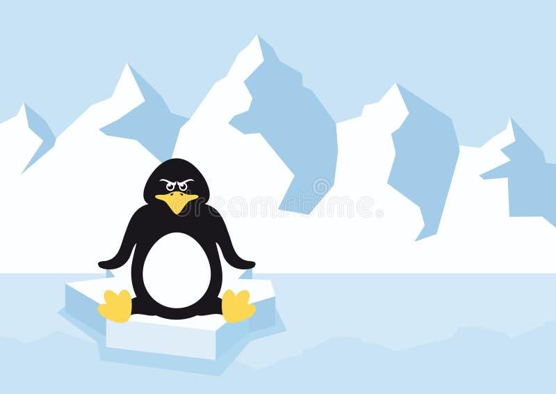 Pingouin de bande dessinée sur une banquise illustration libre de droits
