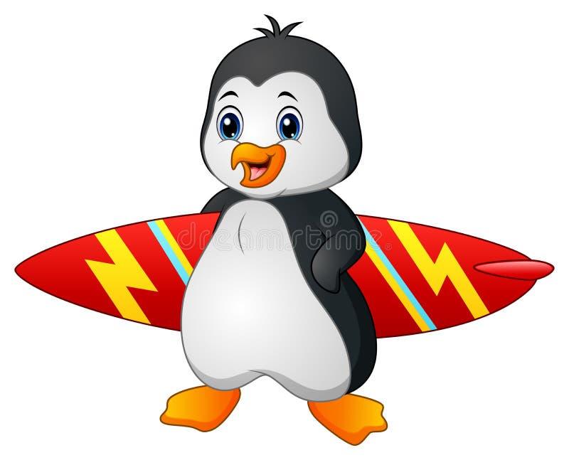 Pingouin de bande dessinée tenant la planche de surf illustration stock