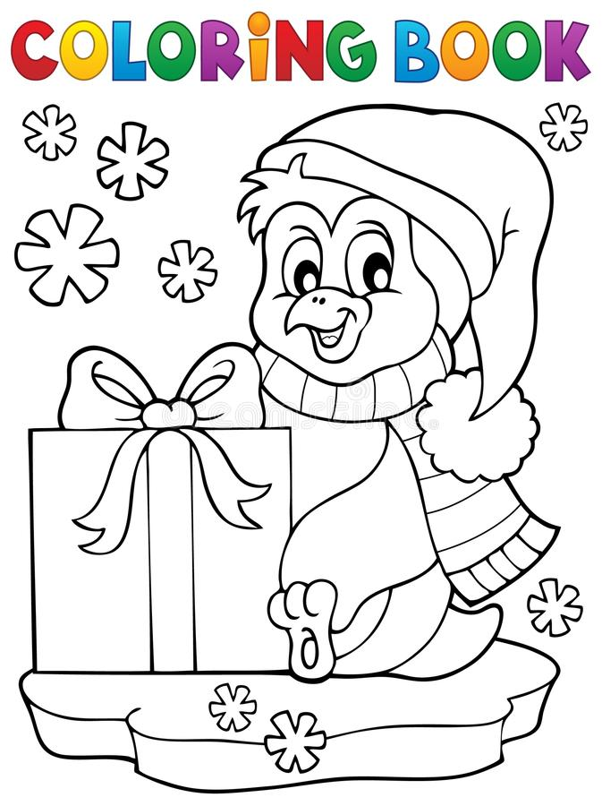 Pingouin de livre de coloriage avec le cadeau illustration stock