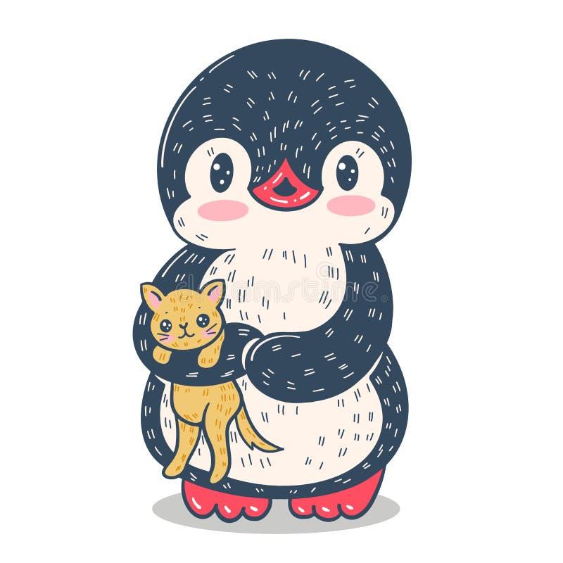 Pingouin dr?le de dessin anim? illustration libre de droits