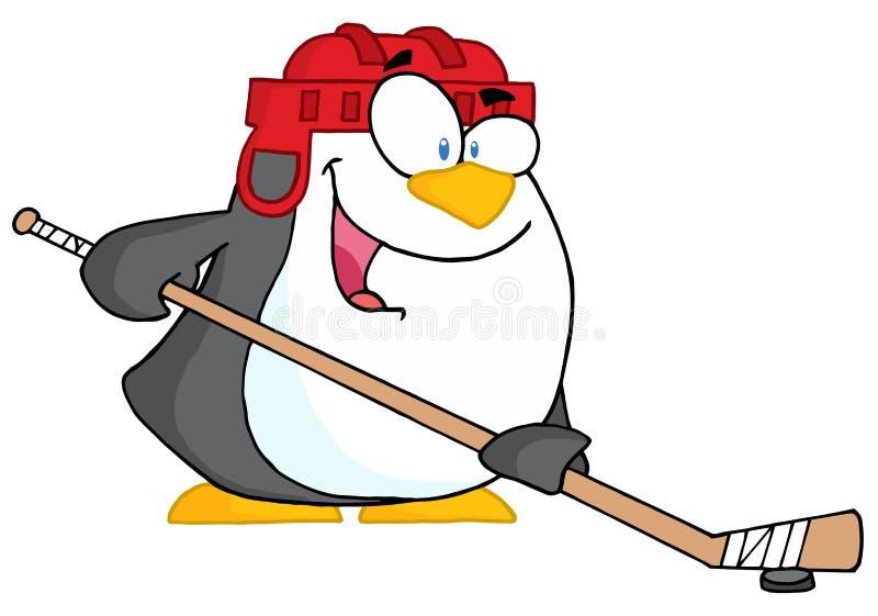 Pingouin heureux jouant au hockey sur glace illustration de vecteur
