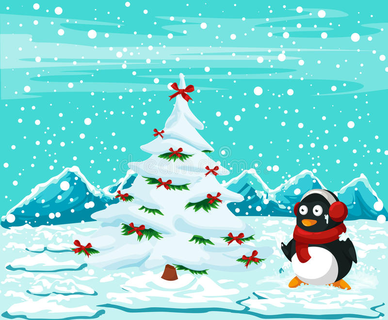 Pingouin mignon avec l'arbre de Noël illustration stock
