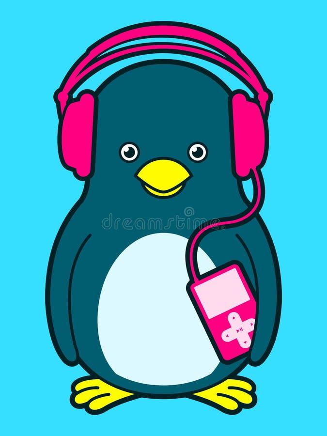 Pingouin mignon avec le joueur de musique et les écouteurs illustration de vecteur