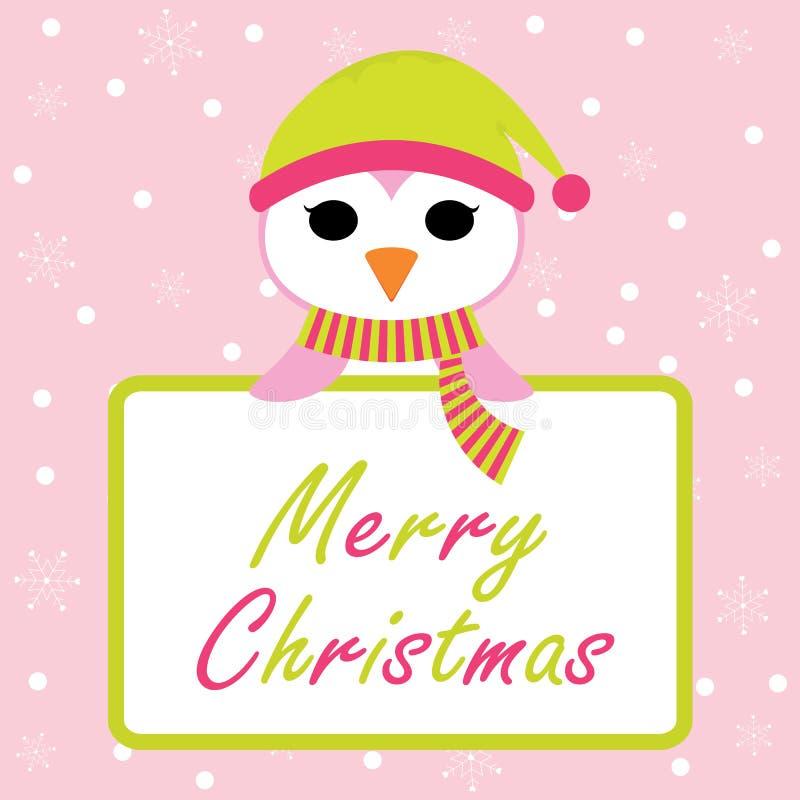 Pingouin mignon avec le texte de Joyeux Noël sur l'illustration de bande dessinée de fond de flocons de neige pour le design de c illustration de vecteur