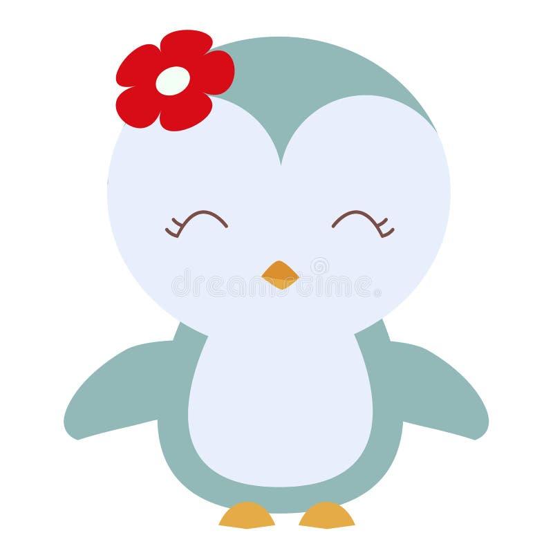 Pingouin mignon coloré de bébé d'icône dans le style de bande dessinée illustration stock