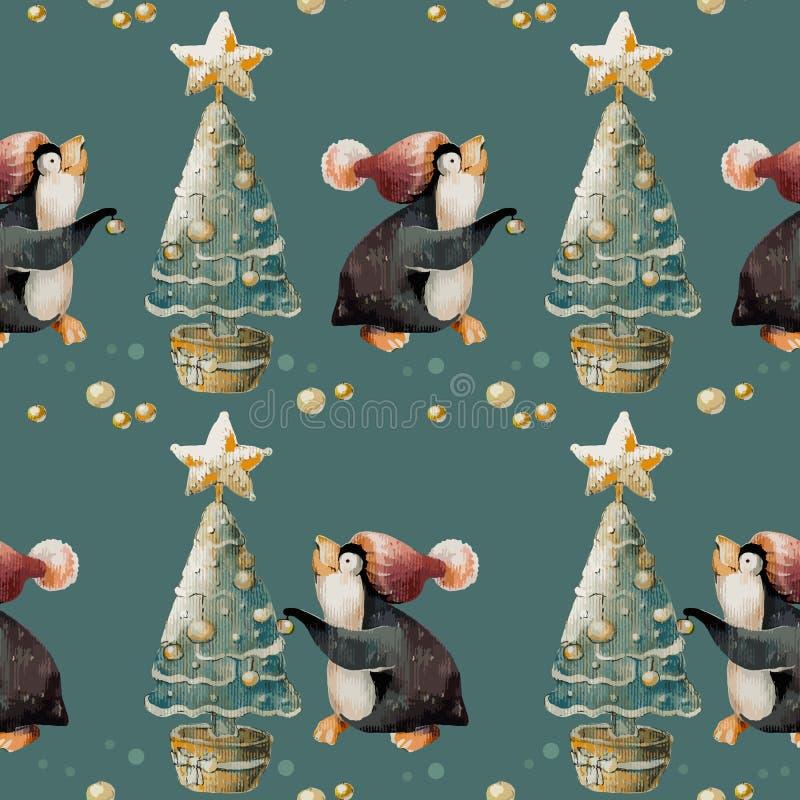 Pingouin mignon dans un chapeau et un arbre de Noël Sans couture, modèle illustration stock