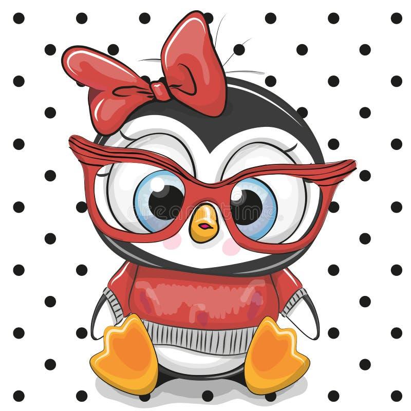 Pingouin mignon de bande dessinée avec les verres rouges illustration libre de droits