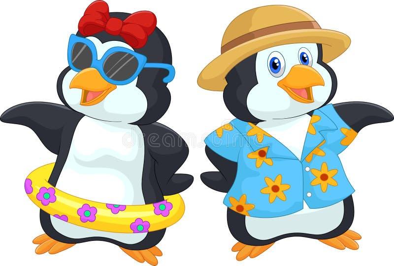 Pingouin mignon de bande dessinée dans des vacances d'été illustration de vecteur